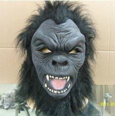 Máscara de chimpancé mono negro capucha con pelo disfraz mono - Para fiestas y celebraciones