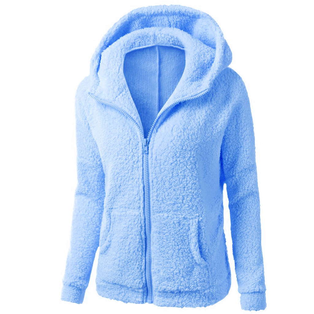 HTB1KcVDXZnrK1RjSspkq6yuvXXaq Women Solid Color Coat Thicken Soft Fleece Winter Autumn Warm Jacket Hooded Zipper Overcoat Female Fashion Casual Outwear Coat