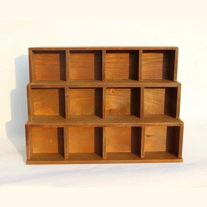 Personality Three Layer Retro Wooden Shelves House And Home Seiri Storage Over-the-Wall Cabinet Furnishings Creative ArtwareL728 the 100% import home furnishings