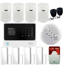 96 Wi-fi and four Wired Protection Zones Residence Safety WIFI GSM GPRS Alarm System with Smoke Detector Indoor strobe Siren