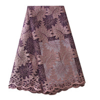 Ourwin Nigerian Lace Fabrics Latest African Laces 2019 High Quality French Lace Fabric Lilac Purple Aso Ebi Style Wedding Fabric