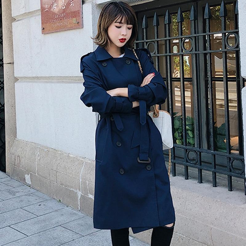 Trench Lâche Blue 2019 Section Automne Décontracté coats Coréenne vent Coupe Manteau Nouveau Dames navy Boutique Femmes Printemps Manteaux Survêtement Longue erxBdCo