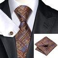 Hot Mens Tie Brown Azul Paisley de Seda Jacquard Corbata Hanky Gemelos Set Boda Lazos Para Los Hombres de Negocios C-540