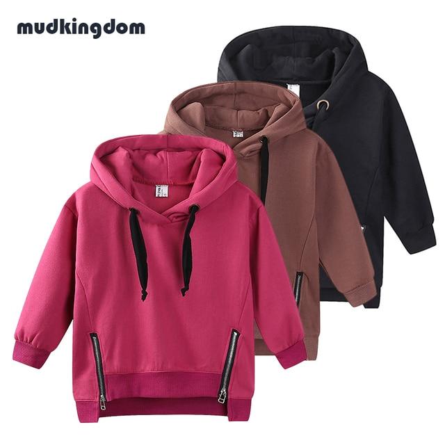 Mudkingdom/для маленьких мальчиков Обувь для девочек с капюшоном хлопковая куртка Детская школьная одежда для маленьких девочек однотонная верхняя одежда Пальто и пуховики футболки на мальчиков осень 2017