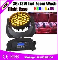 flight case package 4 pcs/lot 36pcs 18W RGBWAUV Zoom LED Moving Head Wash light dj equipment 36x18w rgbwY uv moving head light
