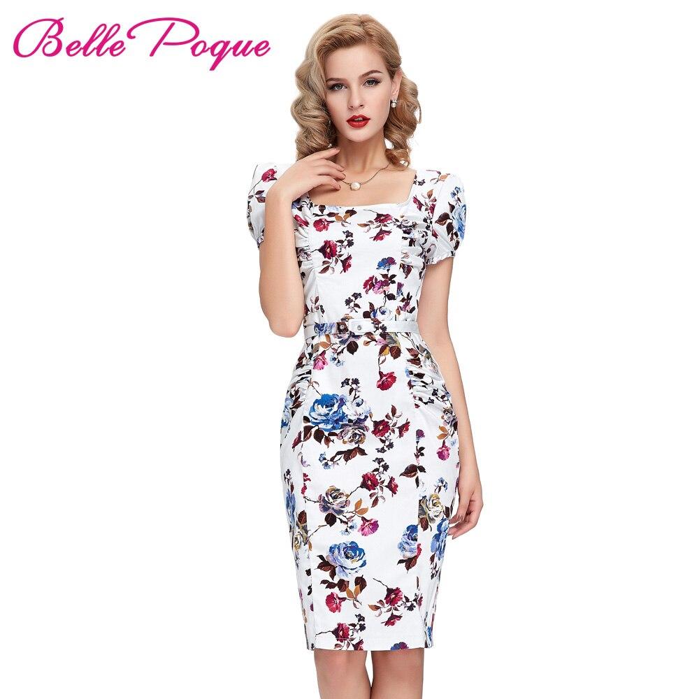 Women Dress 2017 Цветочные Карандаш Bodycon Ретро Vintage 1950 s 60 s Платья Vestidos Плюс Размер Тонкий Встроенная Делопроизводство бальные Платья