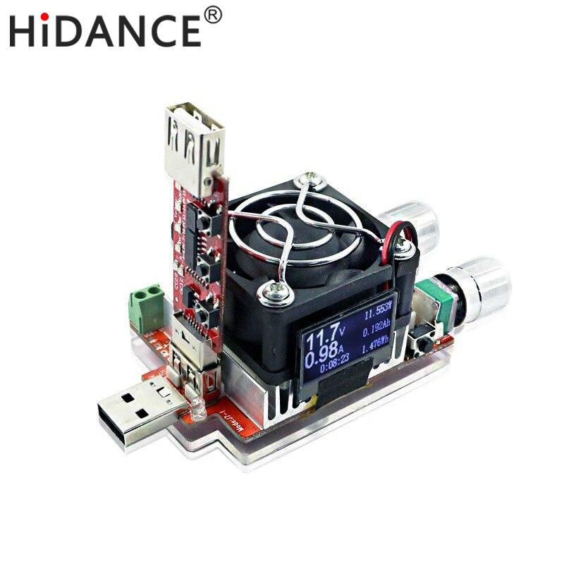35 W corriente constante ajustable doble carga electrónica + QC2.0/3.0 disparadores rápido USB voltaje voltímetro del probador envejecimiento descarga