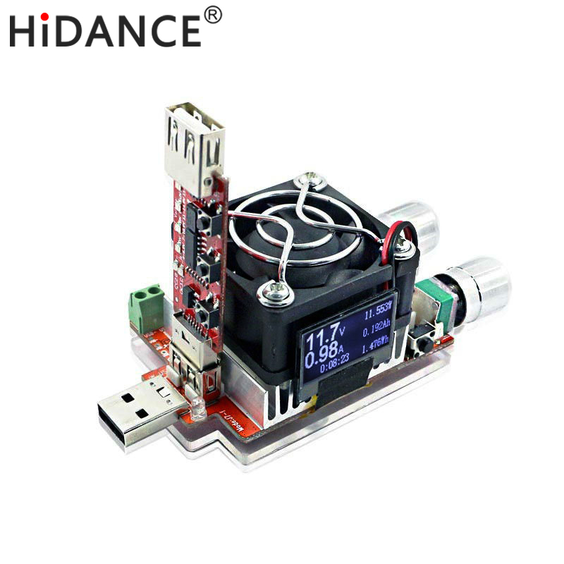 35W de corriente constante de carga electrónica doble ajustable + QC2.0 / 3.0 dispara voltaje rápido voltímetro usb probador descarga de envejecimiento
