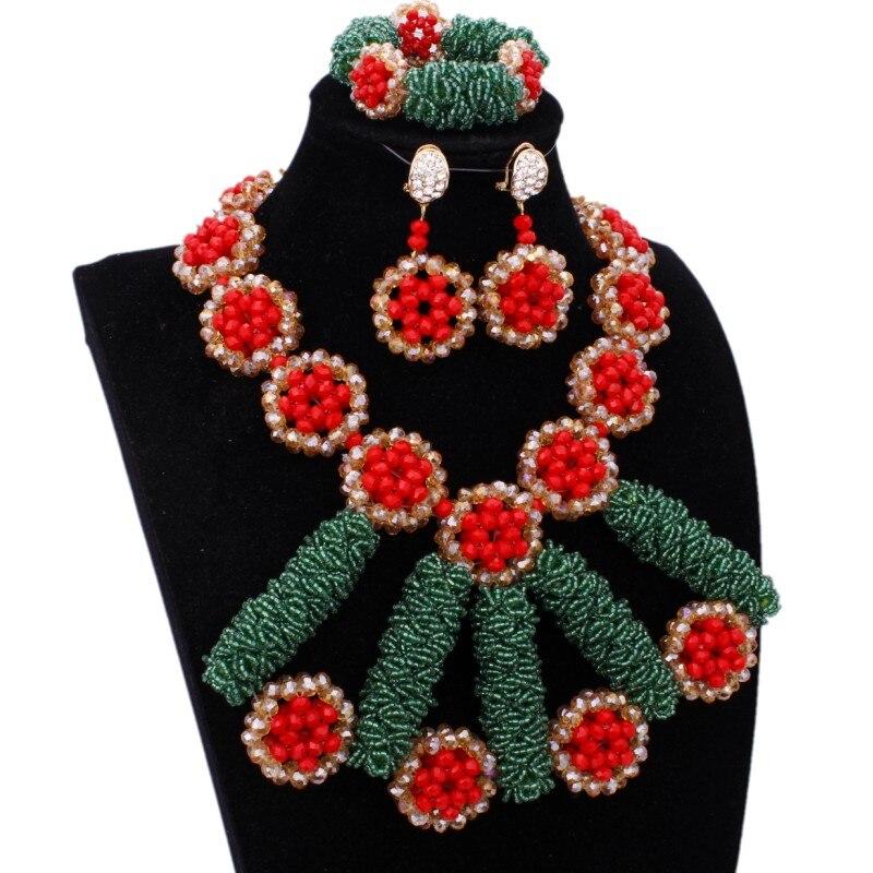 Bijoux fantaisie de luxe nouveauté ensemble de bijoux en cristal africain bijoux en or rouge vert Dubai boucles d'oreilles et collier indien