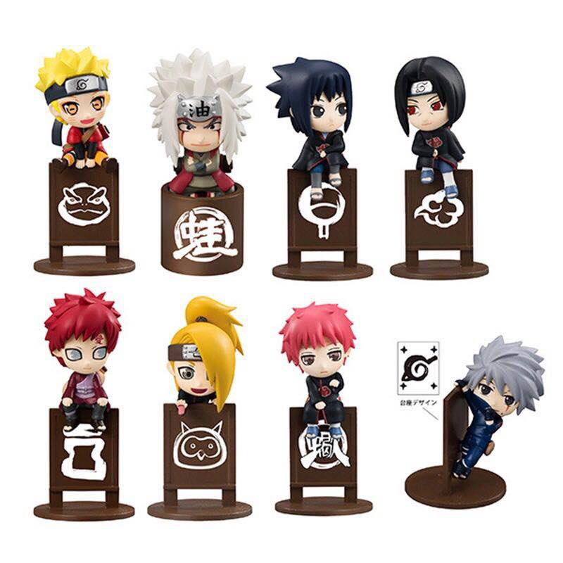 Free Shipping Japanese Anime Cartoon Naruto 8pcs/set Jiraiya Kakashi Mini Action Figures Gaara Itachi Doll PVC figure Toy naruto action figures uchiha obito rikudousennin sharingan pvc model toy naruto shippuden movie anime figure obito light diy69