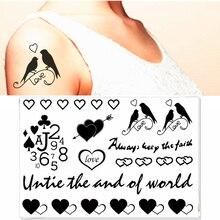 M-Theory Flash Tattoos Body Art Hearts Birds Numbers Temporary Tatoos Stickers Sticker 17x10cm Swimsuit Dress Makeup