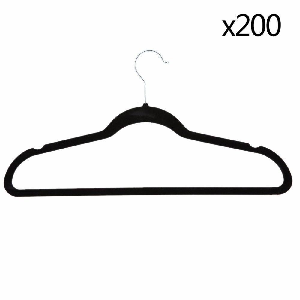Velours noir anti-dérapant mince vêtements cintres gain de place placard rangement aide ménage