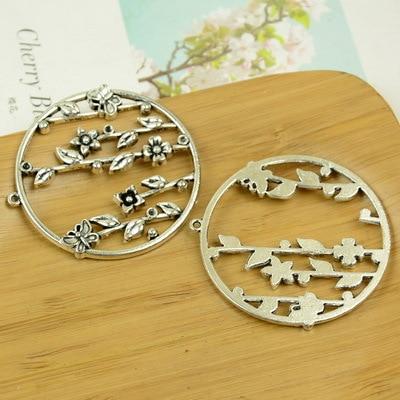10pcslot A3213 antique silver  Flower shape alloy charm pendant fit jewelry making 50x52mm Wholesale