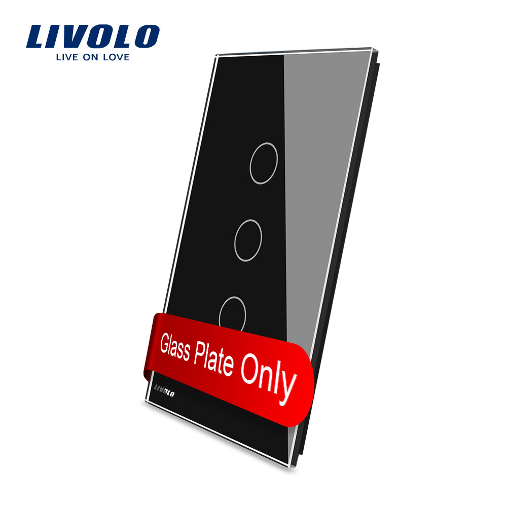 Livolo US standard Luxury Black Glass, 125mm*78mm , Single Glass Panel For 3 Gang  Wall Touch Switch,VL-C5-C3-12 livolo us standard black color glass 2gang