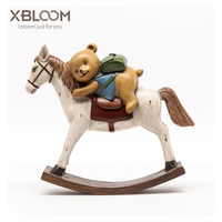 Retro bear riding horse American country crafts Trojan horse carousel music box unicorn sticker statue gift home wedding jewelry