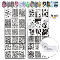 BeautyBigBang 12Pcs/Set Nail Stamping Plates 10 Styles Pattern Nail Stamping Plate With Clear Jelly Stamper Stamping For Nails