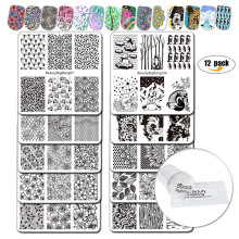 BeautyBigBang 12Pcs/Set Nail Stamping Plates 10 Styles Pattern Plate With Clear Jelly Stamper For Nails