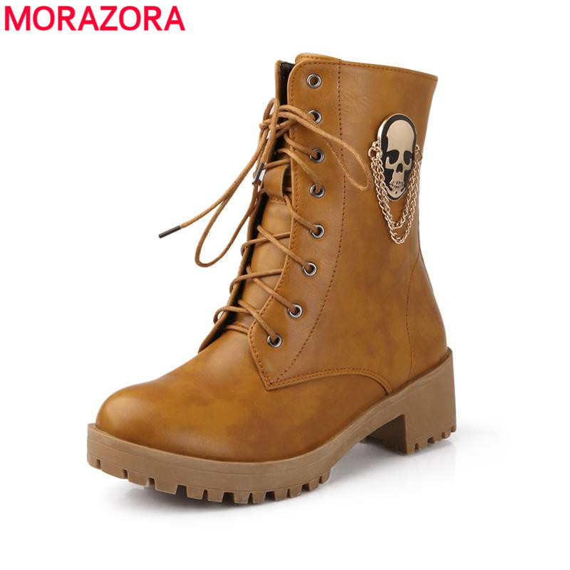 ФОТО 2017 new hot sale Autumn women cool boots Large size 34-40 skull street zip leisure round toe casual lace up ankle boots