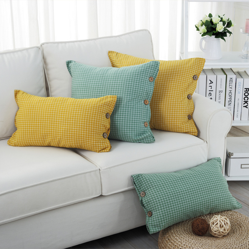 Aliexpress.com : Buy Cotton Plaid Square Throw Pillow Cover Decorative  Cushion Shams Pillowcase Home Sofa Cushion Covers Yellow Grey Green 18x18  Inch From ...
