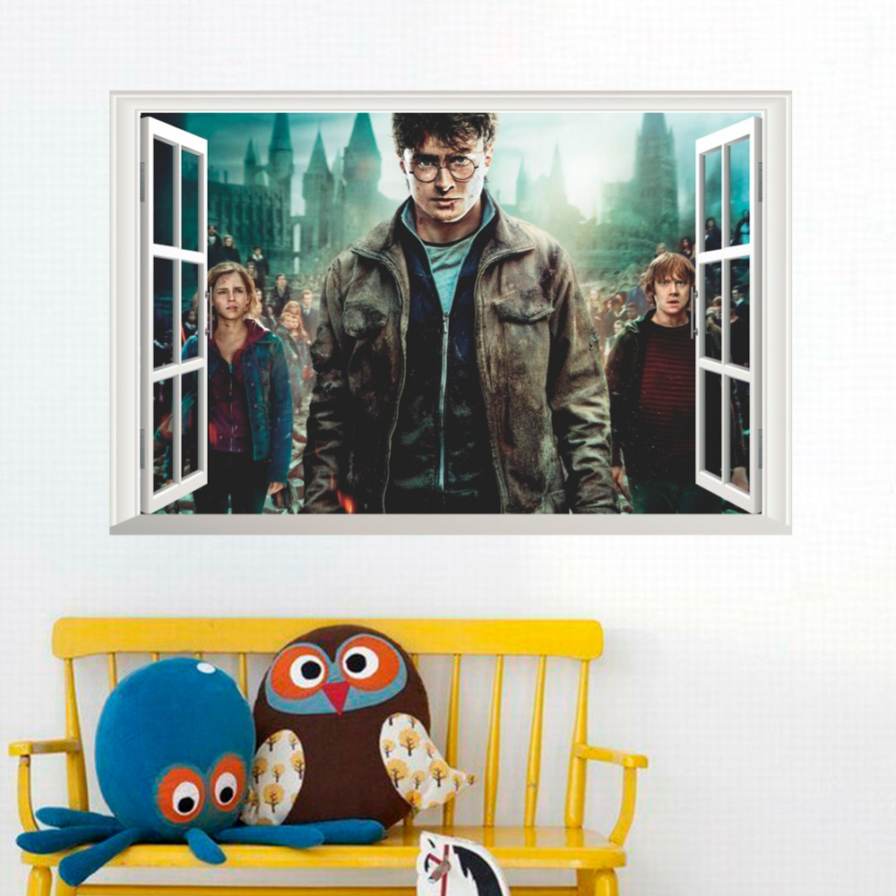 50*70cm Harry Potter Movie Poster Retro Hogwarts Magic School Wall Sticker For Kids Boy Room Adhesive Home Decor 3D Window Decal