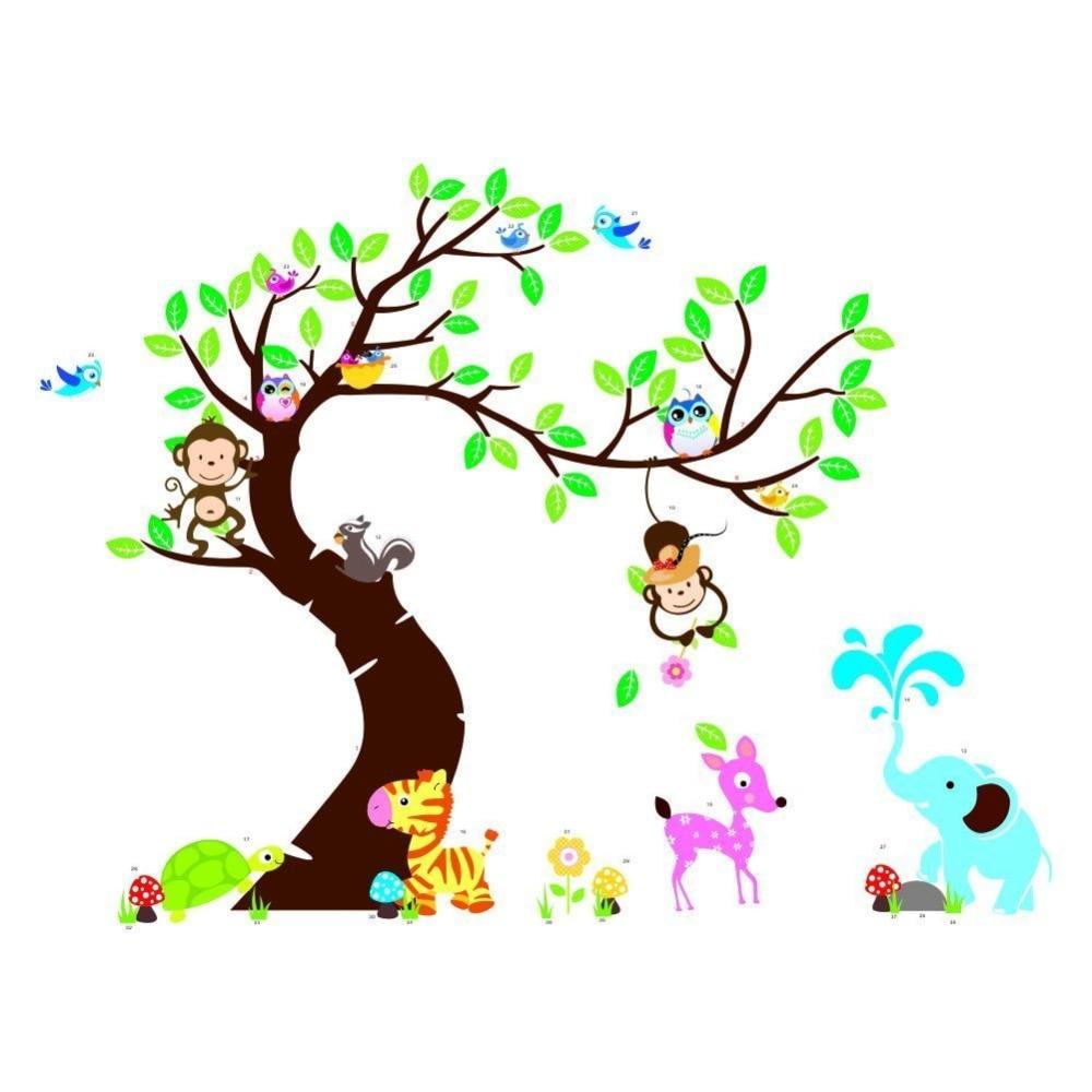 Owls Jungle Animals Wooden Bedroom Furniture Kids: Nursery Animal Monkey Elephant Owl Jungle Tree Wall Decor