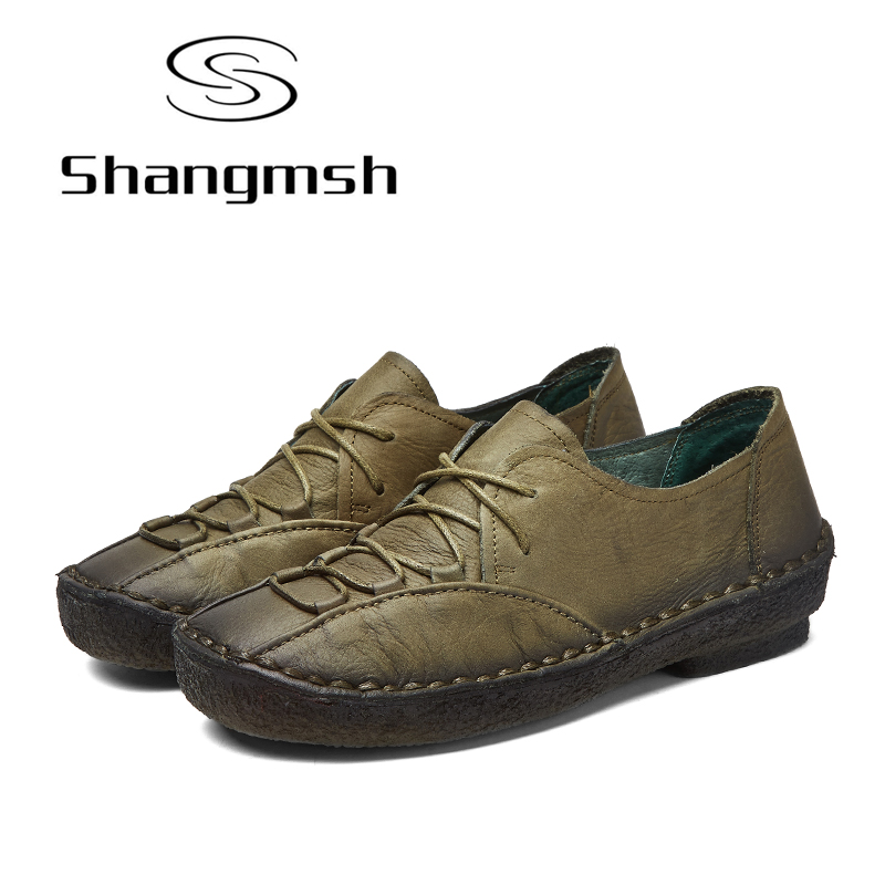 Shangmsh 2017 New Women Shoes Genuine Leather Female Shoes Silp On Soft Handmade Fashion Ladies Loafer Mom Driving Shoes Flats shangmsh shoes for women 2017 new autumn