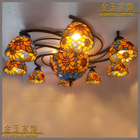 European style sunflower stained glass Tiffany ceiling lighting bedroom 9 large living room bedroom dining room lighting