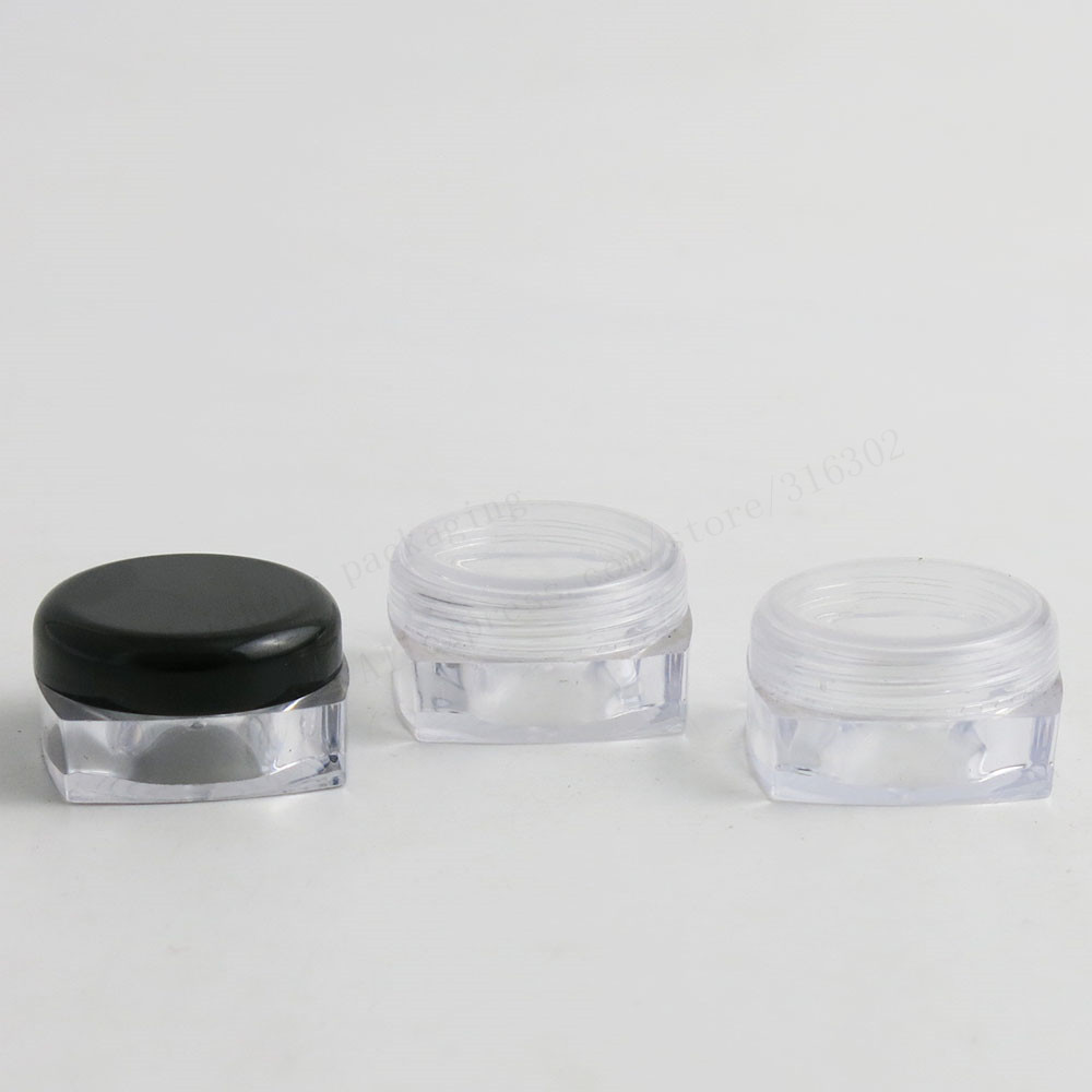 Travel Mini 10G Clear Square plastic Cream jar bottles 10cc Display Container Cosmetic Packaging with whie