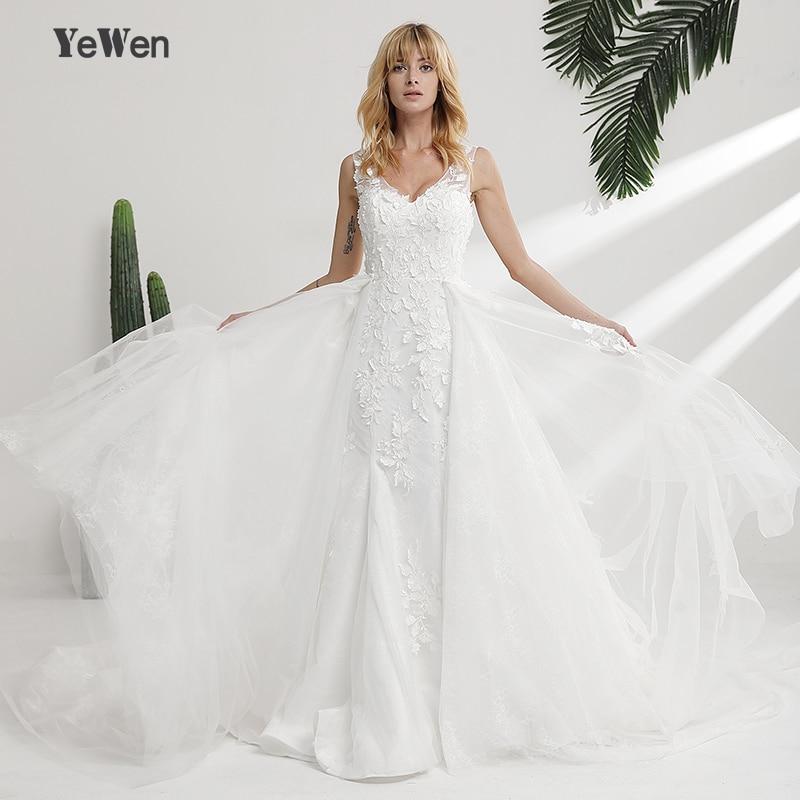 Black Wedding Dress With Detachable Train: Elegant V Neck Lace Mermaid Wedding Dresses 2018 Real