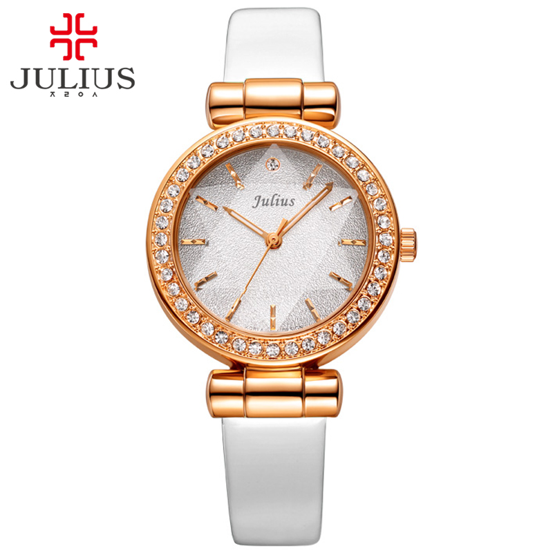 ФОТО JULIUS Rose Gold Wrist Watch Women 2017 Top Brand Luxury Famous Clock Design Quartz Watch Golden Wristwatch Montre Femme JA-778