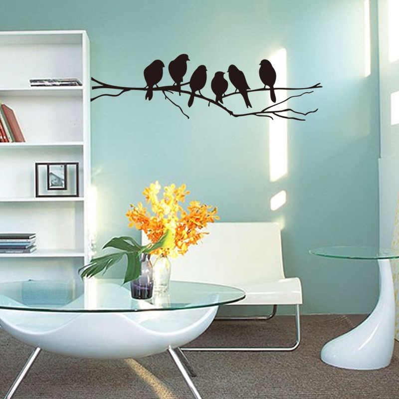 ブラック支店ウォールステッカー寝室リビングルームの背景装飾壁画アートデカールかわいい鳥ステッカー家の装飾