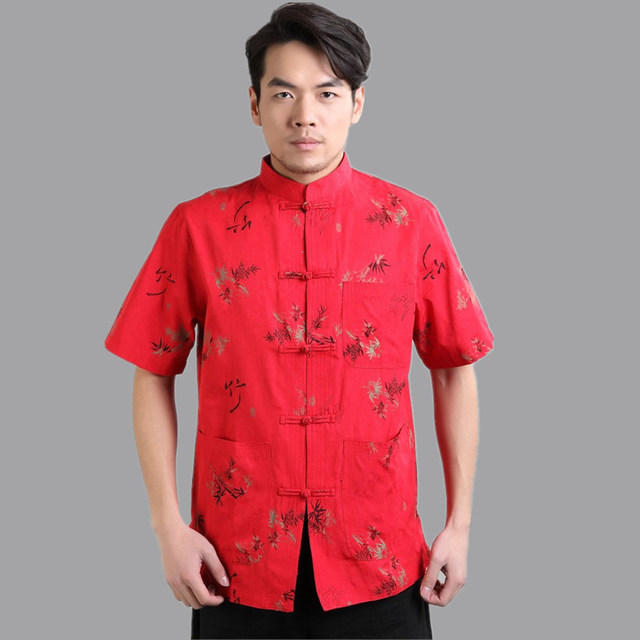 High Quality Red Chinese Men's Cotton Kung fu Shirt Summer Short Sleeve Costume Hombre Camisa Size S M L XL XXL XXXL Mntp23CD