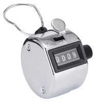 New Hand Tally Counter Portable Four Digit Display Stainless Metal Handheld Number Click Golf Counter Clicker Measuring Tool