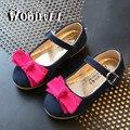 Wobipull meninas shoes 2017 primavera outono crianças arco-nó princesa dança plana shoes crianças shoes bebê cor feitiço camurça shoes 26-30