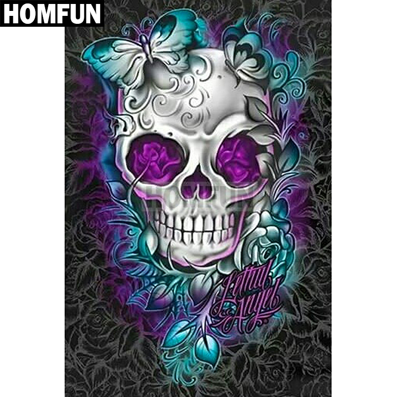 HOMFUN Full Square Round Drill 5D DIY Diamond Painting quot Flower skull quot Embroidery Cross Stitch 5D Home Decor Gift A03746 in Diamond Painting Cross Stitch from Home amp Garden