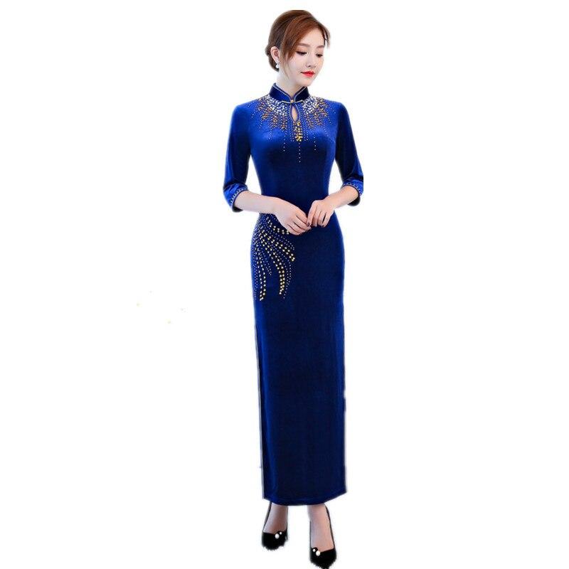 Violet chinois traditionnel broderie Cheongsam femmes velours Long Qipao à la main bouton fleur Slim robes taille S-4XL 9021