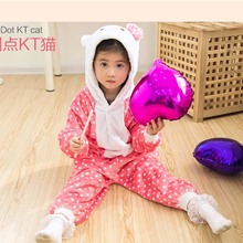 Children Clothing Hello Kitty Animal Pajamas Cosplay Costumes Unisex kids clothes Boys Girls Flannel Sleepwear Onesies Pyjama