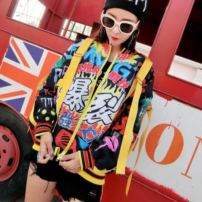 European station 2018 autumn women's new Thai tide brand personality printing woven ribbon ladies long sleeved jacket jacket