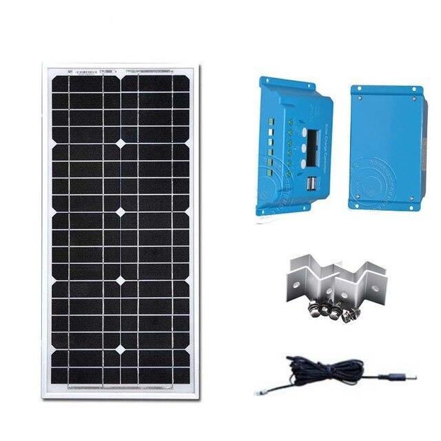 Panel Solar Kit 12v 20w Solar Battery Charger Solar Charge Controller 12v/24v 10A Z Bracket Solar Caravan Camping Rv Motorhome