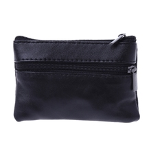 THINKTHENDO Men Women Card Coin Key Soft Holder Zip Leather Wallet Pouch Bag Purse Gift New Fashion Black Mini Coin Holders постельное белье amore mio кпб мако сатин печатный amore mio carina евро
