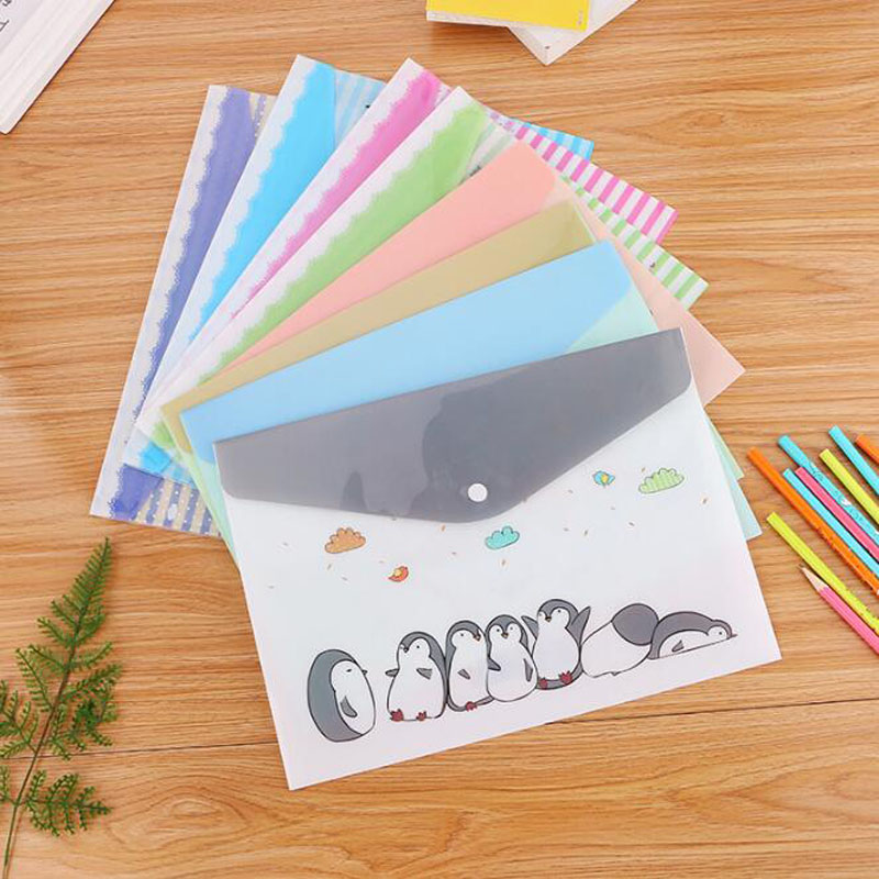 Cute Cartoon File Bag Office Supplies Portable Information Ticket Bag Student Large Capacity Study Stationery Button Pen