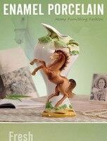 Эмалированные фарфор, лошадь, чтобы добиться успеха, Европейский Стиль, настольная ваза, Керамика лошадь, подарок