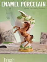 Enameled Porcelain, Horse To Succeed, European Style, Tabletop Vase, Ceramic Horse, Gift