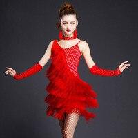 Latin Dance Dress Tassel Elegant Sexy Women Tango Ballroom Salsa Stage Dance Costumes Dancewear