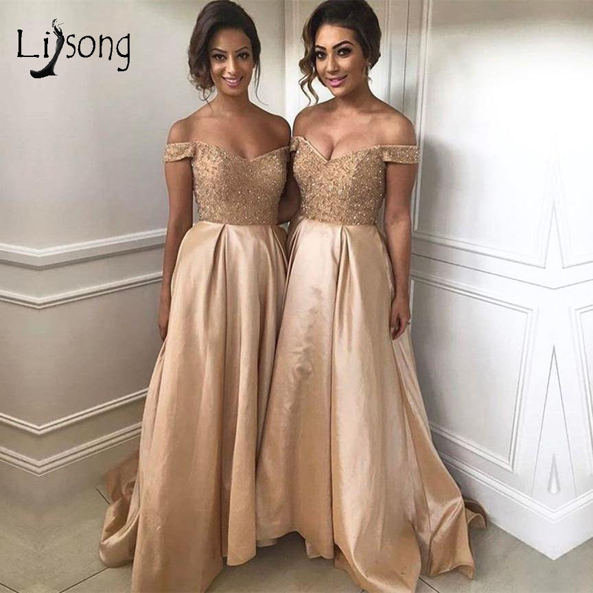 Pretty Champagne Beaded Long Bridesmaid