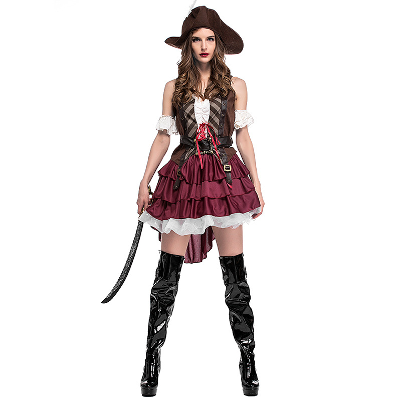 2017 Halloween New High quality Somali pirates cosplay costume (Hat+top+dress+belt ) suit for sexy and beautiful women