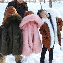Baby girl jacket children's clothing girls cotton fur coat fox fur coat baby long thick boy cotton jacket baby jacket