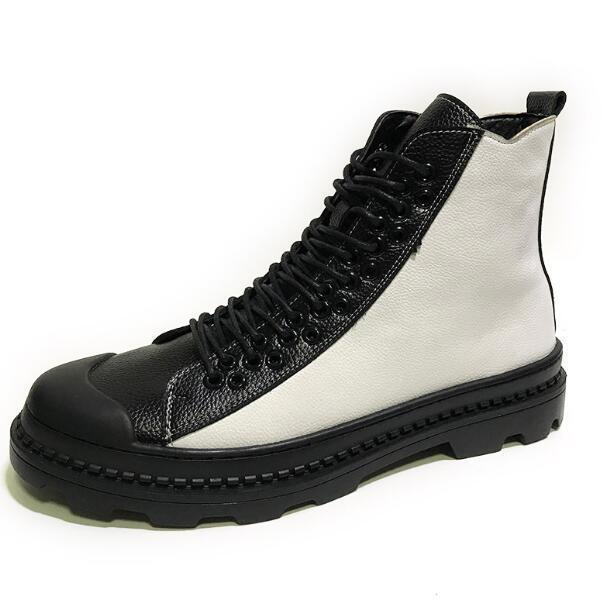 Zipper Bout Rond Chaussures Lacent Mélangée hop Noir De Sport blanc En Formateurs Sz Couleur Cuir Hip Mens Occasionnels B83 MVUSzp