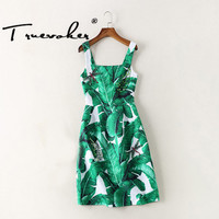 Truevoker designer summer dress mujeres de la alta calidad verde deja impreso insectos abalorios diamante en relieve correa dress 2xl