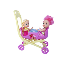 3pcs stroller Double Pram 2PCS 9CM GIRLS DOLLS accessories for barbie Kelly doll